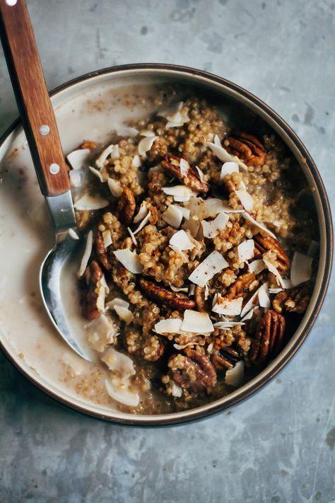 Breakfast quinoa w/ chai-spiced almond milk + cinnamon. /