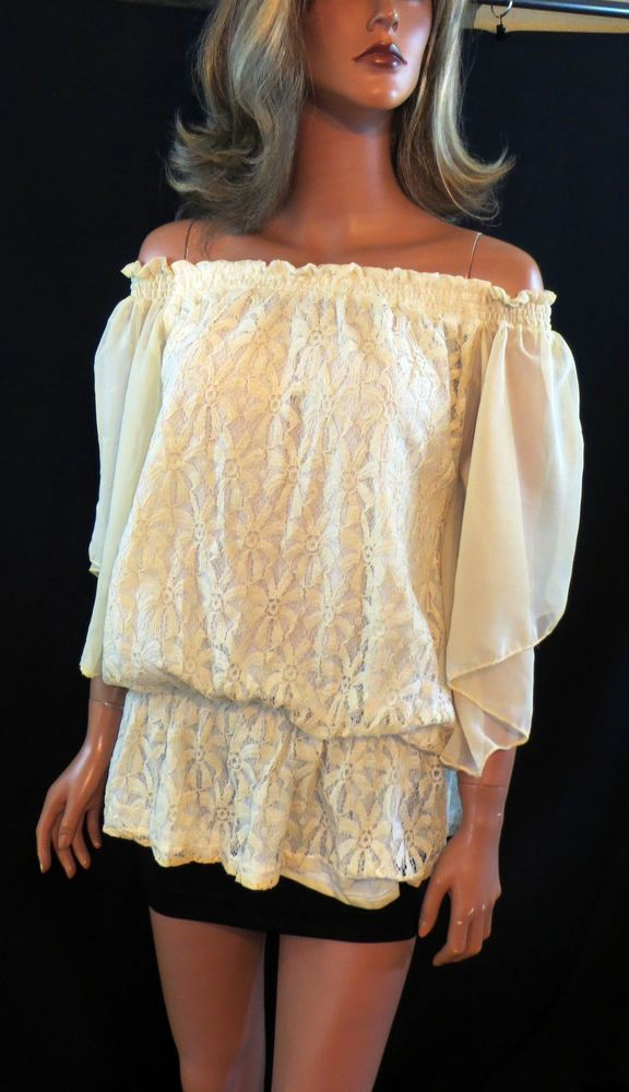 Cowgirl Gypsy Peasant Western Top Tunic shirt Cream Lace Crochet  Sheer Sleeve S this is SO GORGEOUS!!  SMALL, MEDIUM & LARGE AVAILABLE!! our prices are WAY BELOW RETAIL! all JEWELRY SHIPS FREE! www.baharanchwesternwear.com baha ranch western wear ebay seller id soloedition