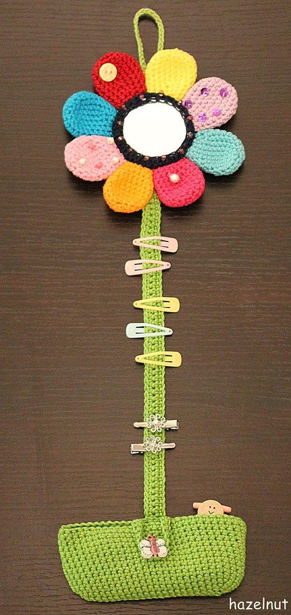 Häkelanleitung Haarspangen- und Zopfgummihalter Blume