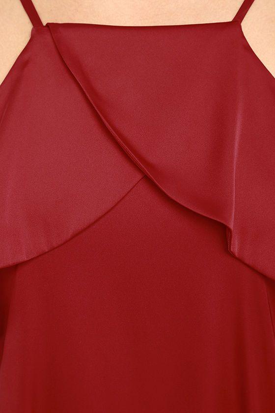 Sexy Dark Red Dress - Red Satin Dress - Ruffled Dress - Shift Dress - $43.00