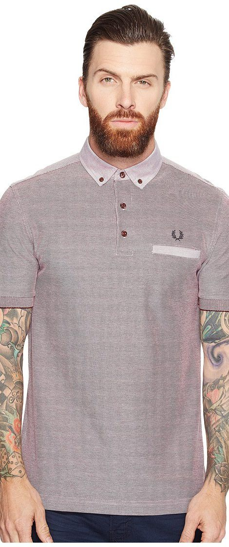 Fred Perry Woven Trim Pique Shirt (Rosewood) Men's Short Sleeve Knit - Fred Perry, Woven Trim Pique Shirt, M1575-D60, Apparel Top Short Sleeve Knit, Short Sleeve Knit, Top, Apparel, Clothes Clothing, Gift - Outfit Ideas And Street Style 2017