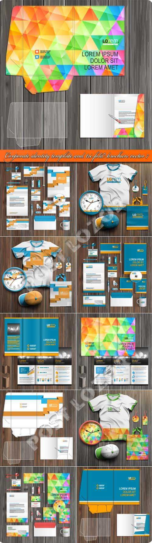 Корпоративный стиль и брошюра из трёх страниц шаблоны 7 | Corporate identity template and tri-fold brochure vector 7