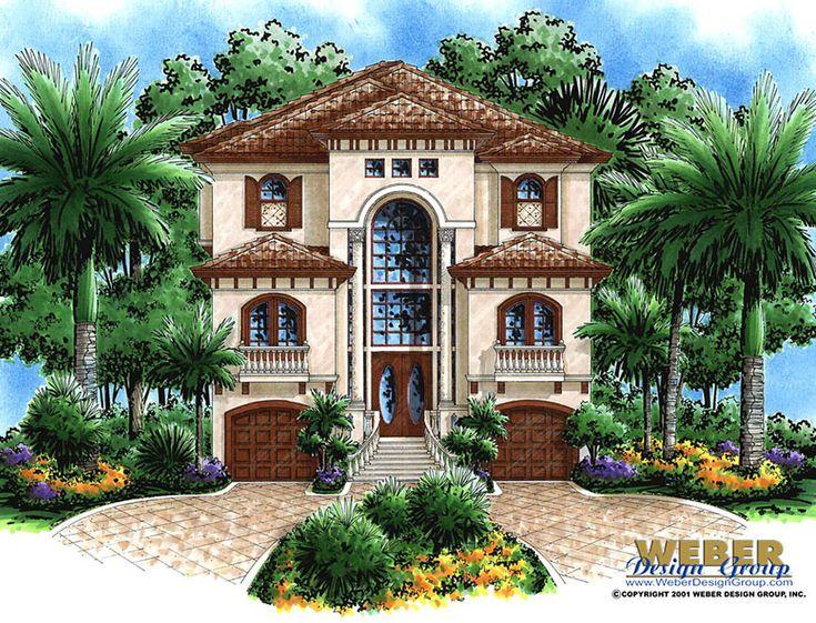 Mediterranean House Plan, Narrow Lot Beach Home Floor Plan