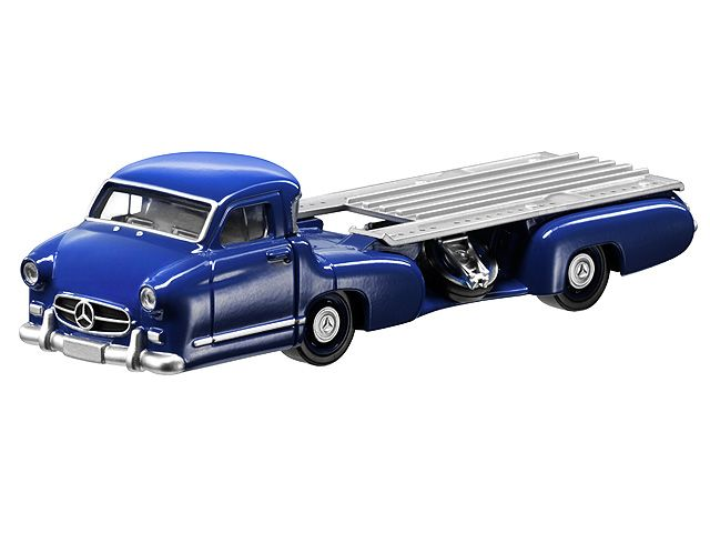 Race car transporter, 1955 - B66041206 Race car transporter, 7.62 cm (3-inch), 1955, blue. Diecast zinc with plastic parts. Accurate reproduction. Hand-assembled model made up of over 15 individual parts. Age 3+. Length approx. 106 mm.