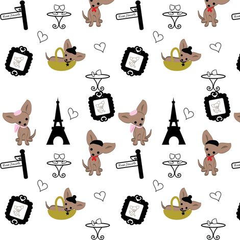 I want a reason to buy this - Chihuahuas in Paris fabric by kiwicuties on Spoonflower - custom fabric