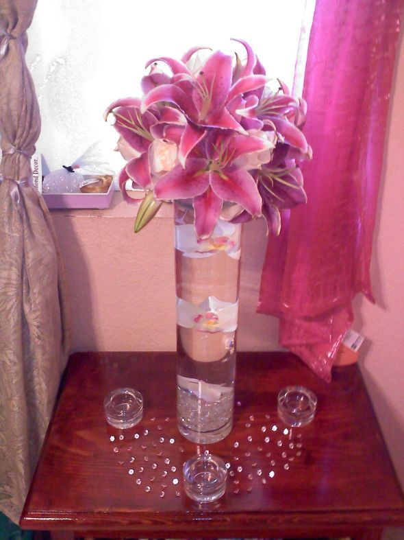My DIY tall stargazer lily centerpiece :  wedding centerpiece cylinder diy flowers lily pink reception stargazer tall white Our Centerpiece