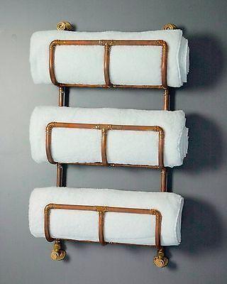 Industrial Copper Towel Rack - Perfect reclaimed style bathroom radiator rail