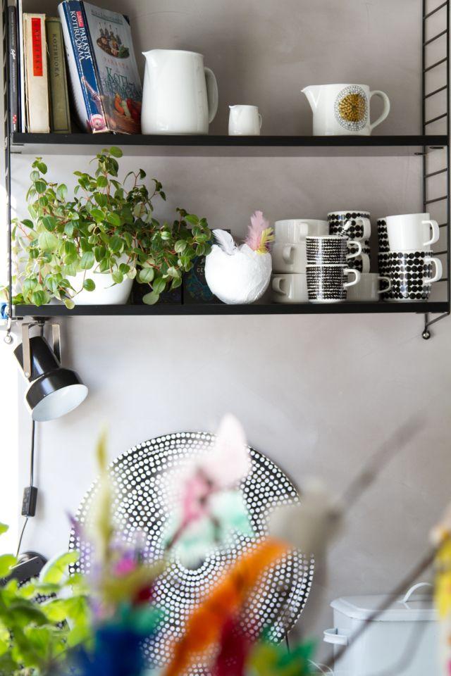 Pääsiäinen, keittö, hylly, String.  Easter, kitchen, shelf.