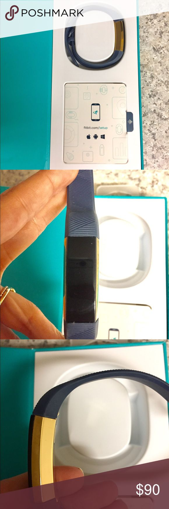 Fitbit Alta Gold Fitbit Alta Gold series. Purchased a year ago and worn for some of the year. Original large black band had too much wear so it includes newer dark blue, watch-style band that fits small to large. No noticeable flaws to the actual device, just normal wear. Scratcher on buckle of band (LOTS for great cheap bands available from other poshers) Includes charger, set up manual, and original box. Retails currently for around $150. Fitbit Accessories Watches