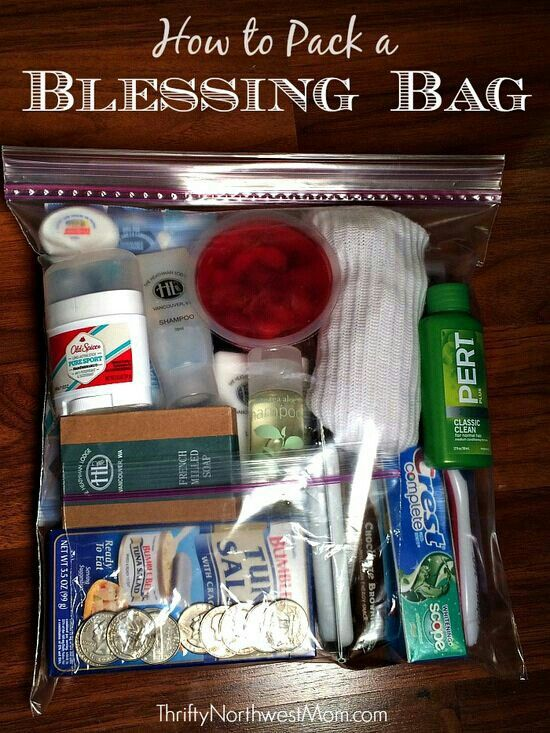 Create a Blessings Bag for the Homeless any time of year with unused items in the home!