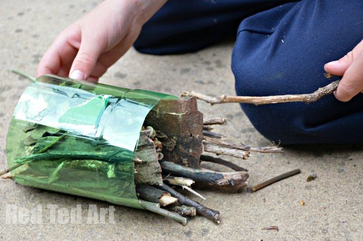 Simple bug hotel for children to make from Red Ted Art
