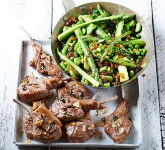Garlicky lamb cutlets with Sicilian-style greens
