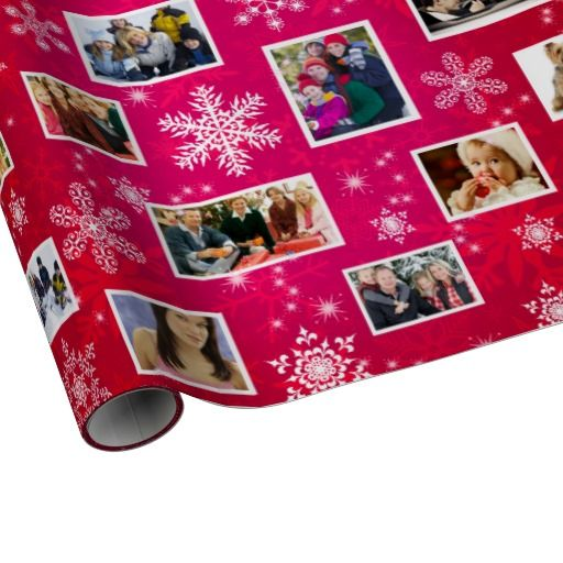 Christmas Snowflakes 15 Favorite Family Photos Red and Hot Pink Wrapping Paper