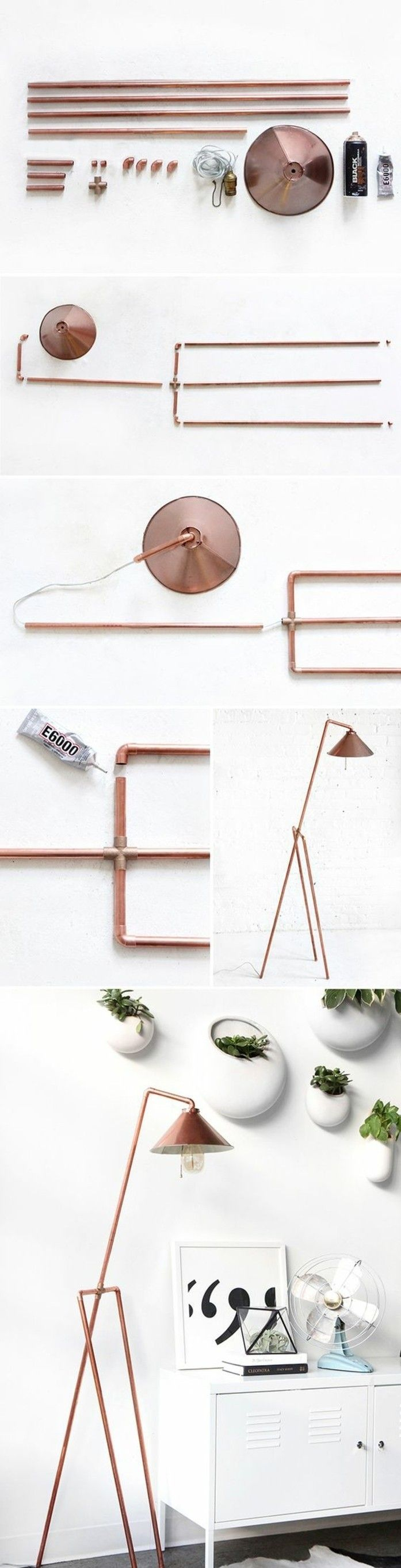 comment bricoler une lampe de chevet en tuyau cuivre, idée diy facile et originale