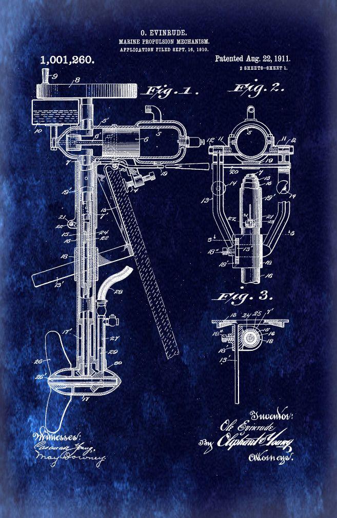 Blueprint Art of Patent Outboard Boat Engine от BigBlueCanoe