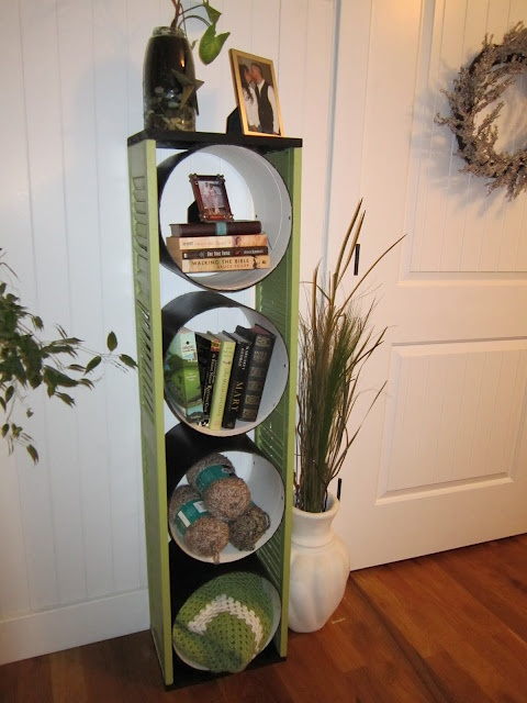 Shelf from concrete forms and old shutters