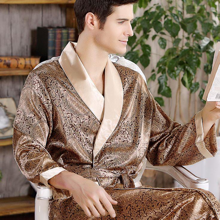 Hot Sale! Free Shipping Men Bathrobe Geometric Robes V-neck Imitation Silk Sleepwear Full Sleeve Nightwear Men Robe