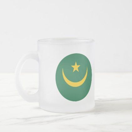 #Mauritania Flag Frosted Glass Coffee Mug - #country gifts style diy gift ideas