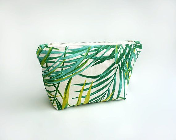 Palm leaf makeup bag, Green cosmetic bag, Large make up bag, Toiletry bag, Festival accessory case, Tropical print pouch, Trousse, Sac