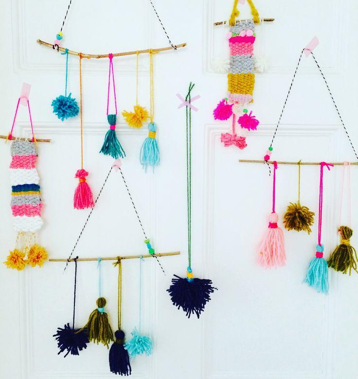 Weaving #wallart #yarn #art #craft #pompoms #tassels #sticks #craftmakeplayworkshops