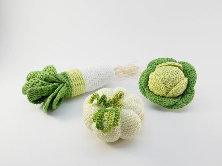 ORGANIC Crochet Baby Rattles Veggies, Set of 3 - Cabbage, leek, pumpkin- Organic Food crocheted toys, New Baby Ideas,sensory toys, rattle by RainbowHappiness on Etsy