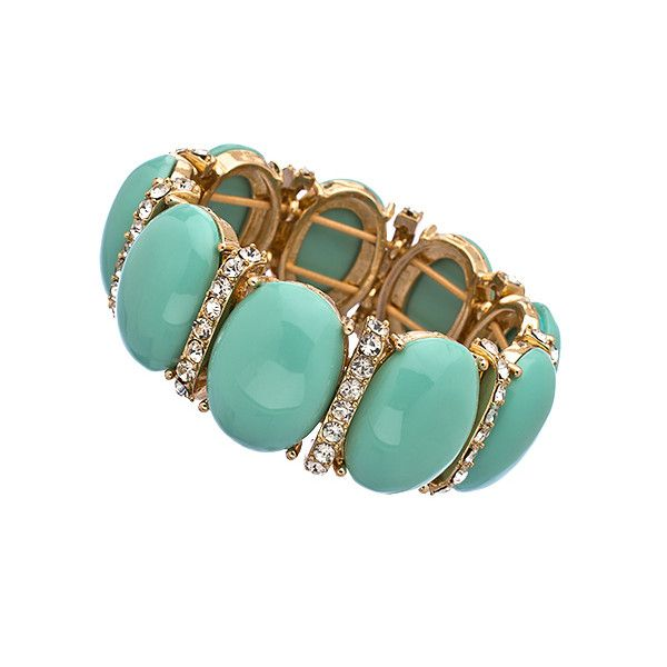 Blu Bijoux Mint Cabochon Crystal Stretch Bracelet ($26) ❤ liked on Polyvore featuring jewelry, bracelets, jewels, pulseras, crystal bangles, crystal jewellery, sparkle jewelry, mint jewelry and blu bijoux