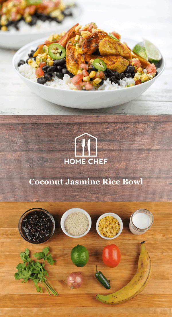 Coconut Jasmine Rice Bowl with fried plantains and corn pico de gallo