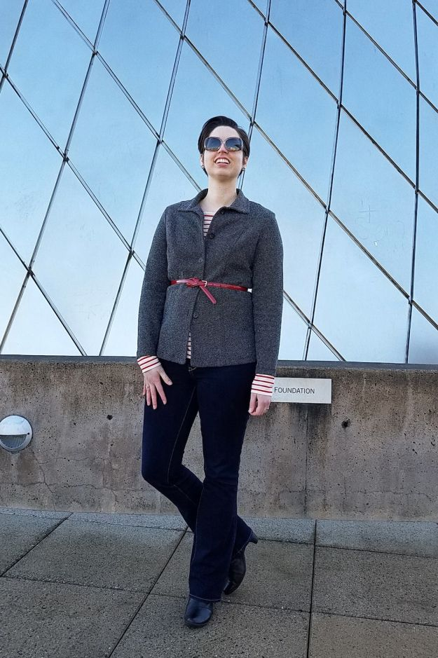 Librarian for Life + Style | Red stripes + layering for a casual Friday work outfit