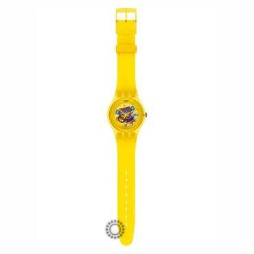 SUOJ100 Unisex νεανικό ρολόι Yellow Lacquered του ελβετικού οίκου SWATCH από πλαστικό, χρωματιστά τμήματα μηχανής στο κίτρινο καντράν και κίτρινη σιλικόνη #Swatch #κιτρινο #σιλικονη #ρολοι