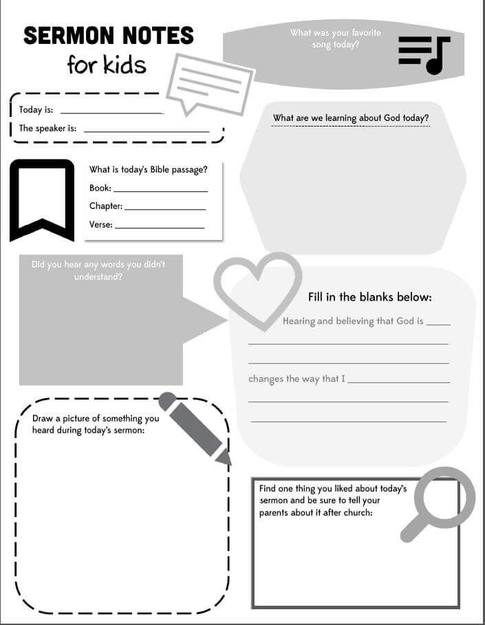 Sermon notes for kids/teens