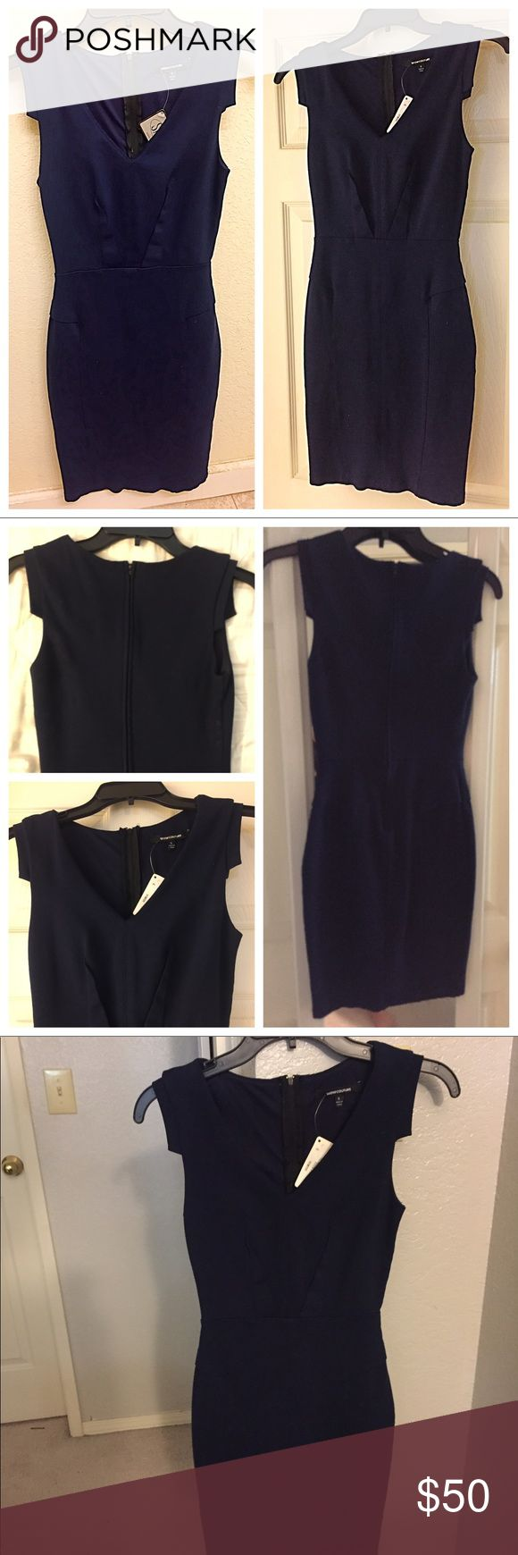 Navy Cap Sleeve V Neck Bodycon Shift Dress S Dark Navy Blue. Super Stretchy and form fitting! Midi length, v neck and cap sleeves. Perfect for work or going out! WOW couture Dresses Midi