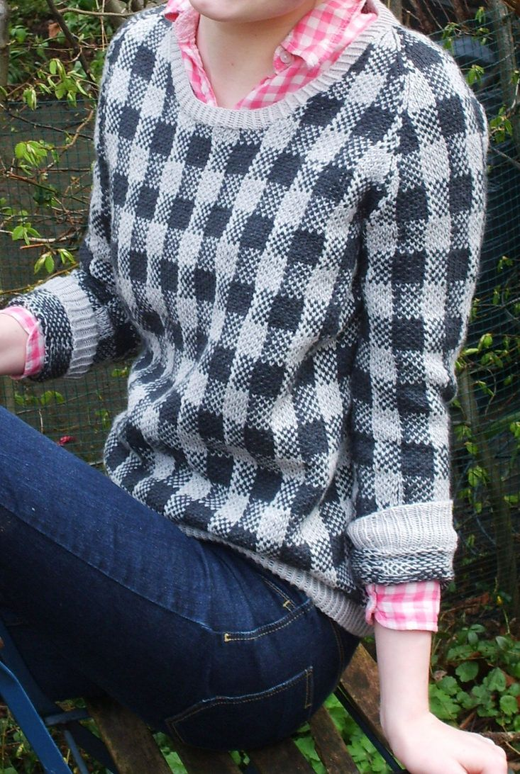 Free Knitting Pattern for Checks and Balances Sweater - Long-sleeved pullover with plaid stranded colorwork design. Sizes XS S, M, L, 1X, 2X, 3X Designed by Boadicea Binnerts
