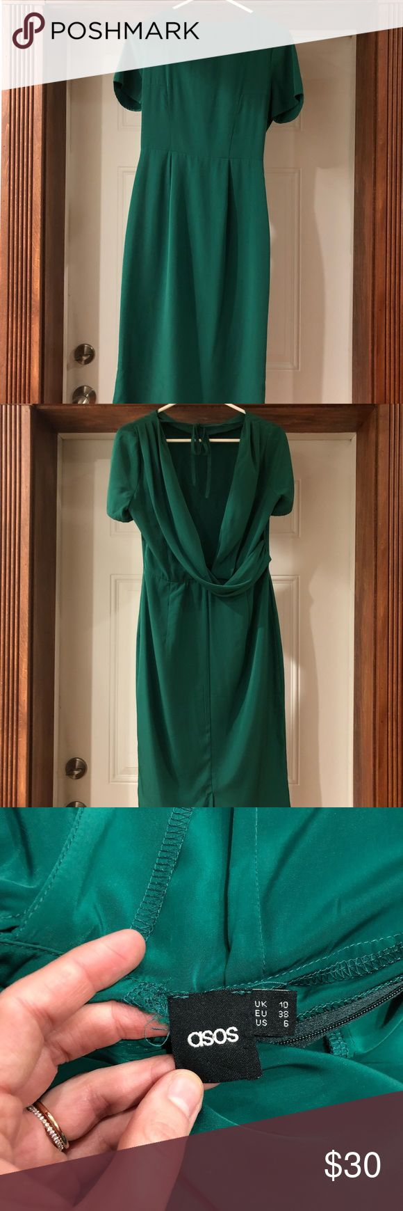 Green Asos Cocktail Dress Beautiful emerald green Asos cocktail dress. Open back with extra fabric that lays beautifully. Tie at the neck. Mid-length. Great for parties, weddings, and holiday gatherings. ASOS Dresses Midi
