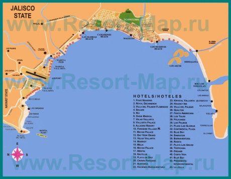 Подробная карта Пуэрто-Вальярта с отелями