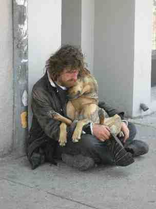 Homeless ~ this makes me cry! I have encountered this scene several times...I bought them some food and dog treats from a convience store closeby...it made them cry!!!