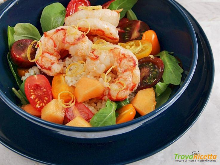 INSALATA DI BULGUR, MELONE E GAMBERONI PER IL CLUB DEL 27  #ricette #food #recipes