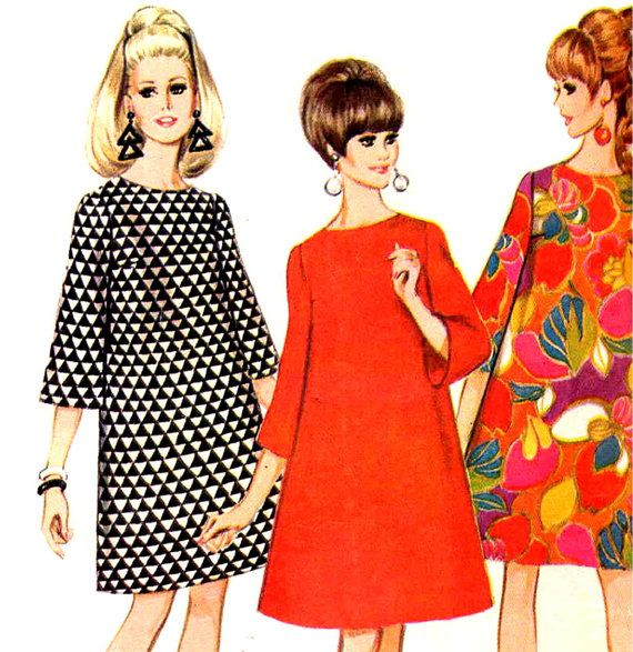 This mod pattern makes a basic wide A line or trapeze dress with an oval neckline, back zipper and below the elbow bell shaped sleeves. Quick