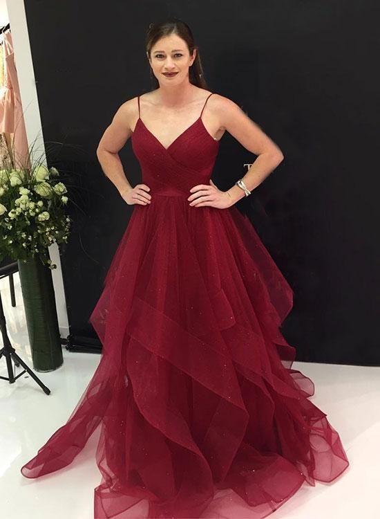 cdcf85490a457 2019 Burgundy long prom dress, evening dress,Ball Gown,prom dresses ...