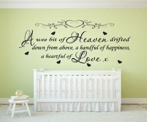 A Wee Bit Of Heaven... Quote - Nursery Vinyl Wall Art Decal Sticker