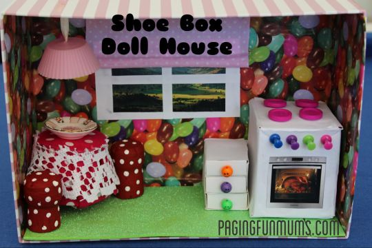Shoe Box Doll House With Working Light Pretend Play