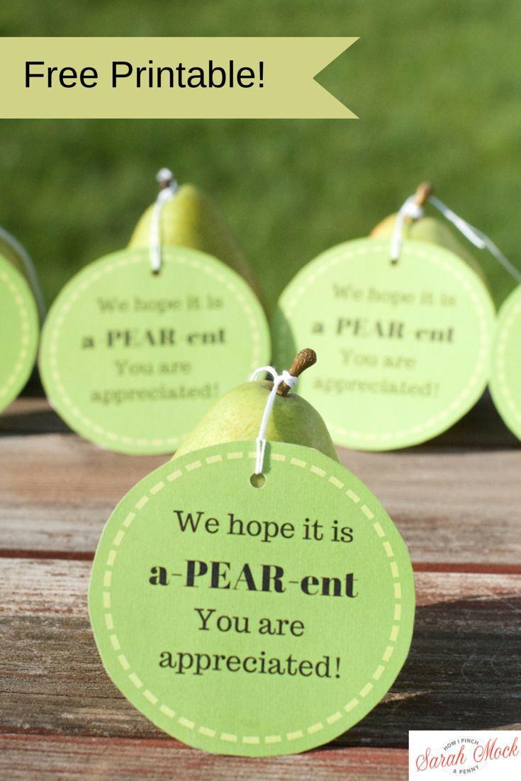 teacher appreciation pear printable tag from