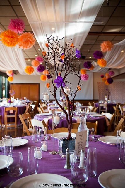 twig centerpiece and paper flowers, like the colors