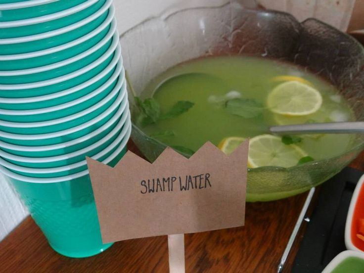 Swamp water at our where the wild things are party - lemonade, sparkling lime fizzy drink' orange juice, lemon slices, mint and ice cubes.. Yum