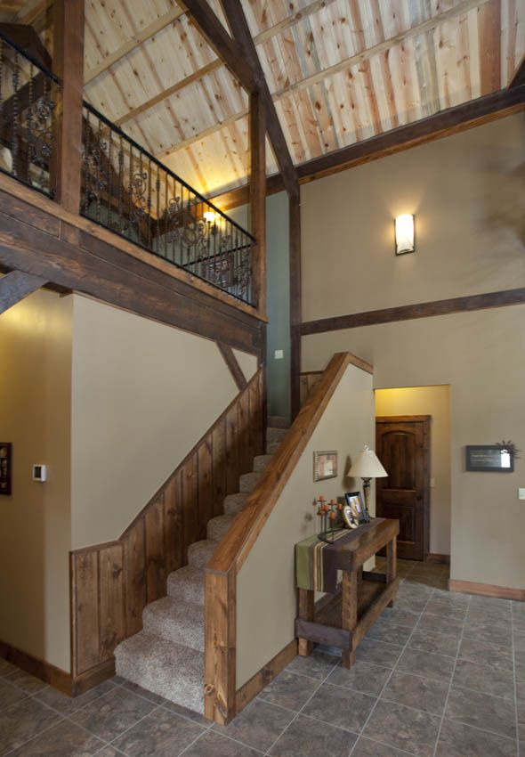 loft stairway in a wood barn home wwwsandcreekpostandbeamcom https