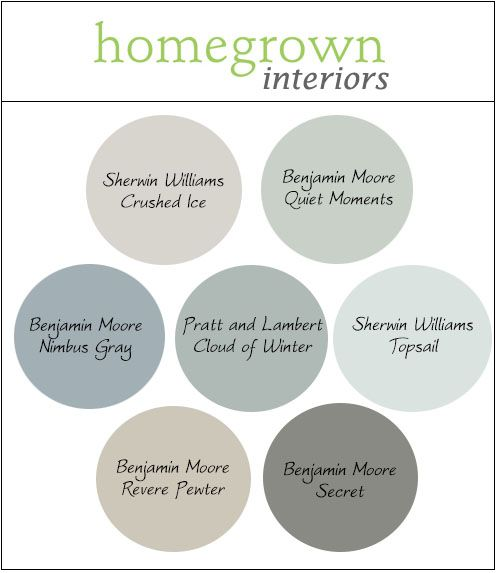 My favorite neutral paint colors for 2014! Sherwin Wiliams Crushed Ice, Benjamin Moore Quiet Moments, Benjamin Moore Nimbus Gray, Pratt and Lambert Cloud of Winter, Sherwin Williams Topsail, Benjamin Moore Revere Pewter, Benjamin Moore Secret