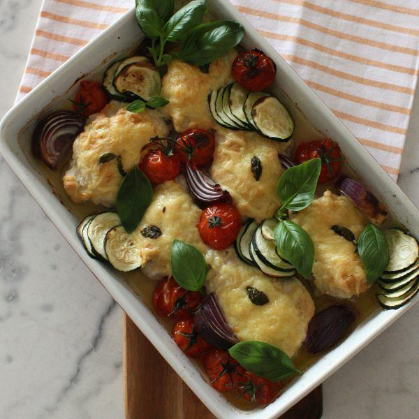 Chicken, Hummus and Vegetable Bake