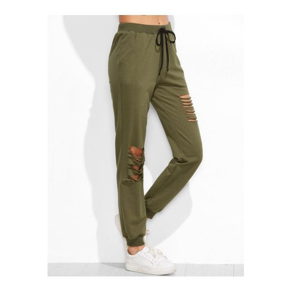SheIn(sheinside) Olive Green Ripped Drawstring Sweatpants ($19) ❤ liked on Polyvore featuring activewear, activewear pants, green, white sweat pants, drawstring sweatpants, drawstring sweat pants, sweat pants and green sweat pants