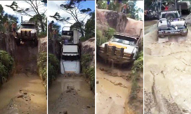 Watch an Aussie four wheel driver launch his car off a vertical ledge @adeldemeyer