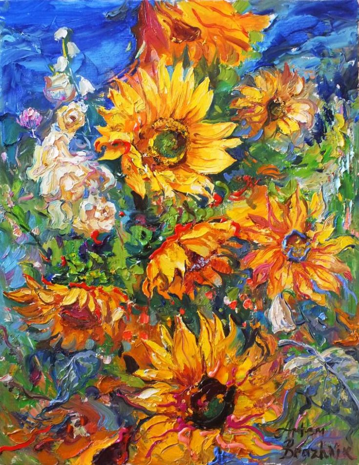 Buy Sunflowers An Oil Painting On Canvas By Artem Brazhnik From