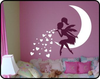Baby Girl Room Decor Fairy Wall Decal w/ Blowing by DecaIisland